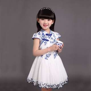 girl traditional chinese new year cheongsam style with tulle skirt short sleeves