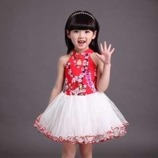 girl traditional sleeveless chinese new year cheongsam tulle skirt dress