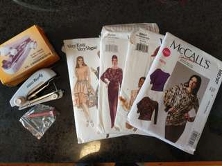 Hand Held Sewing Machine and Dress Patterns