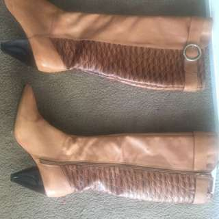 Real leather boots knee high