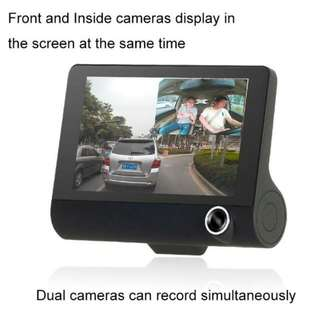 "Free Postage! 4.0"" 3 Camera Car recorder Front/Inside/Rear1080HD"