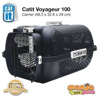 YES! Catit Voyageur Cat Carrier- Black, White Tiger Print, Small (48.3 cm L x 32.6 cm W x 28 cm H
