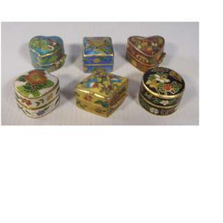 Vintage Chinese miniature cloisonne pill box set of 5 1960s hand crafted unused