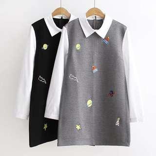 日系西裝領假兩件式襯衫上衣女連身裙