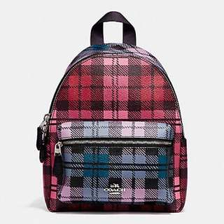 Coach mini Charlie Backpack with shadow Plaid Print