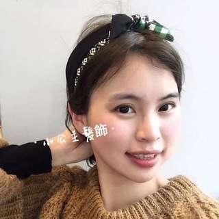 🚚 韓版 韓國同款格紋花朵不對稱髮箍