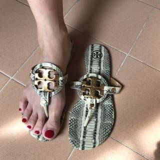 Tory Burch Miller Sandals - Snake Skin, Size 7 1/2 M