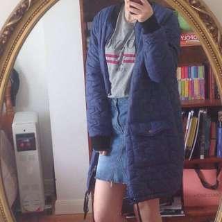 Blue Midi Bomber Jacket