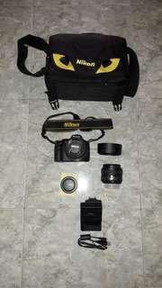Nikon D3200 (lens 18-55mm) + lens 50mm f1.8g