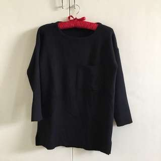 Black knitted 3/4