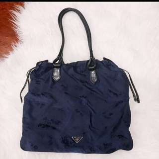 Authentic Prada Navy Silk Tote with Leather handle