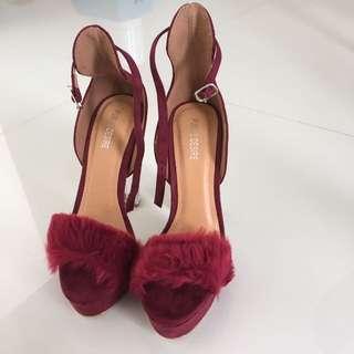 Alison Faux Fur Perspex Heel Platforms in Bordeaux Faux Suede