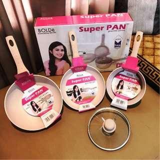 Bolde Super Pan Granite Series Panci Teflon Keramik 3Pcs Anti Lengket