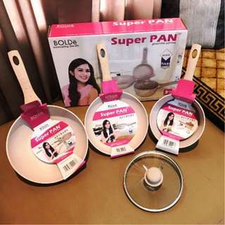 Bolde Super Pan Granite Series Panci Teflon Keramik 3Pcs Anti Lengket