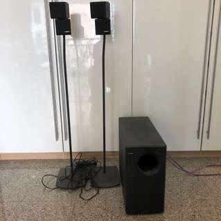 Bose speakers+subwoofer+stands