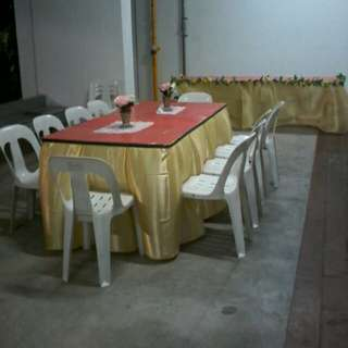 Mini Event Rental Chair , Table , Skirting & Backdrop