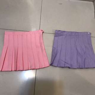 Pastel pink and purple tennis skirts 🎾