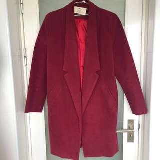 酒紅色西裝長版外套 韓版