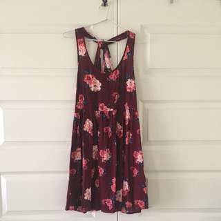 Size 12 | Maroon Floral Dress