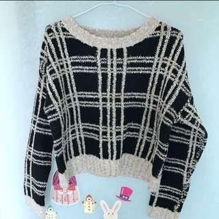 QS格子短版毛衣 全新品