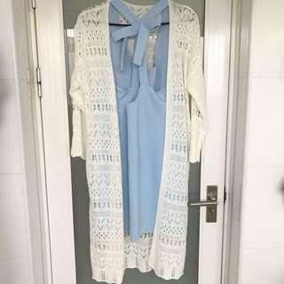 米白色針織長罩衫 F 全新品