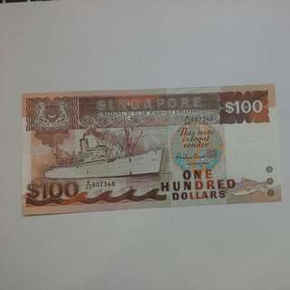 Singapore $100 Ship Ef Condition Note