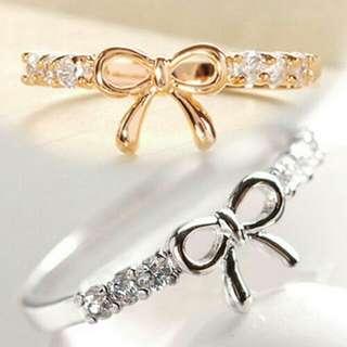 Cincin Fashion Wanita Dengan Hiasan Pita Bahan Berlian Imitasi Untuk Penikahan