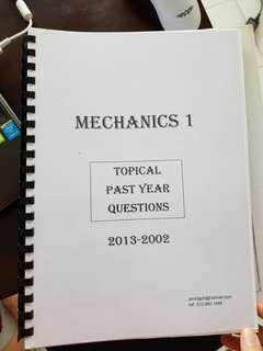 Mechanics 1 cambridge gce a levels topical past year