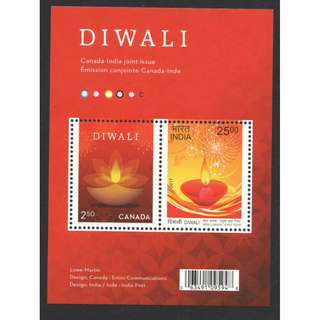 CANADA 2017 DIWALI LIGHT  INDIA JOINT ISSUE SOUVENIR SHEET OF 2 STAMPS IN MINT MNH UNUSED CONDITION
