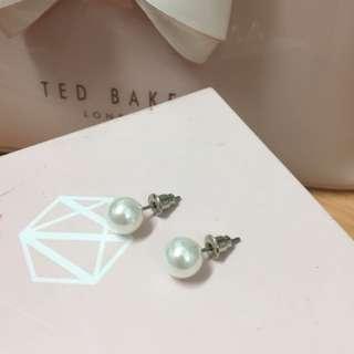 Fake pearl earrings