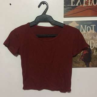 Maroon Ribbed Crop Top
