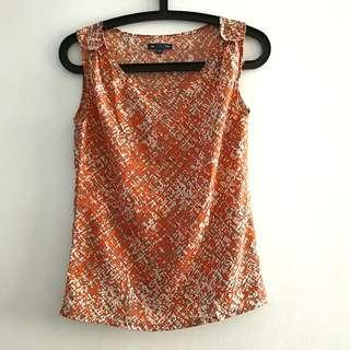 Gap orange patterned blouse