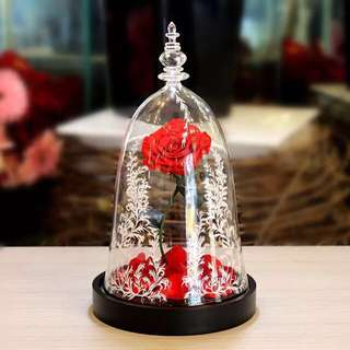 Floral Bell Jar beauty and the beast glass dome enchanted rose