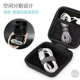 迷你便攜耳機收納盒,USB手指,充電器,數據線,收納包, 讀卡器 ,beats耳機包, 數碼收納包,保護包,黑色
