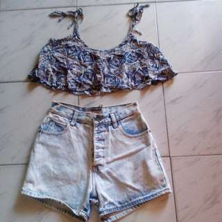 Sold as set:  Forever 21 crop top (small) and high waist denim (small)