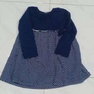 Dress Biru Polkadot