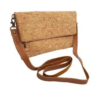 Zip with Snap Button Cork Fold Clutch cum Handbag with Sling
