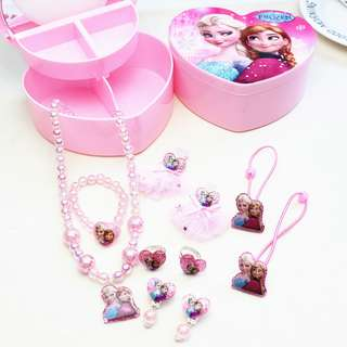 💖 READY STOCK 💖 Frozen Pink Kids Children's Jewelry Combination Set Gift Premium Box