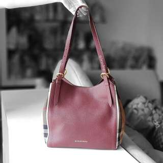Authentic Burberry Mahogany Canterbury House Check Leather Tote Bag