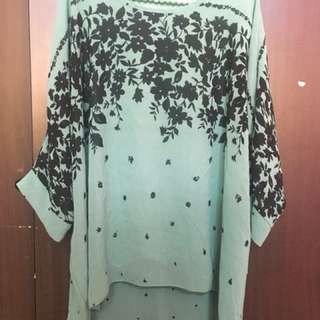 Dark Green Floral Batwing Blouse