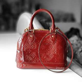 Authentic Louis Vuitton Red Vernis Alma BB