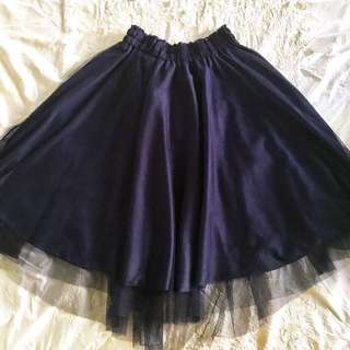 Navy Blue Layered Sheer Skirt