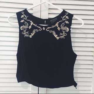 Embroidered Black Crop Top