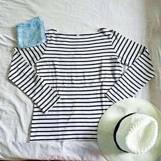 Uniqlo Basic Striped Boatneck Top