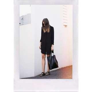 Classic minimal black leather tote bag