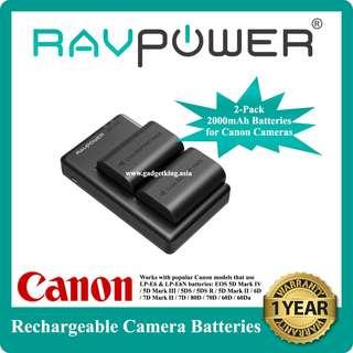 2-Pack Rechargeable 2000mAh LP-E6 & LP-E6N Batteries for Canon Cameras