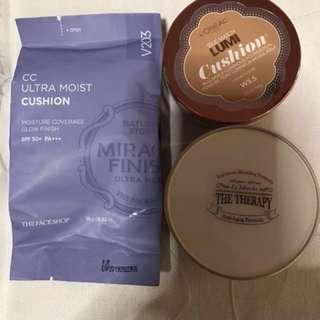Cushion Foundation (The Therapy, Face Shop CC Ultramoist cushion, Lumi Loreal Cushion)