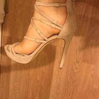LIPSTIK nude strappy heels