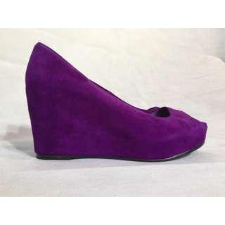 Santini Bingo Purple Ultra Violet Suede Wedges Size 38 New