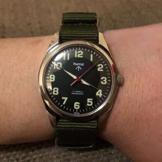 Brand new Military watch 突鏡 黑 綠 Nato帶 hamilton Timex Cwc